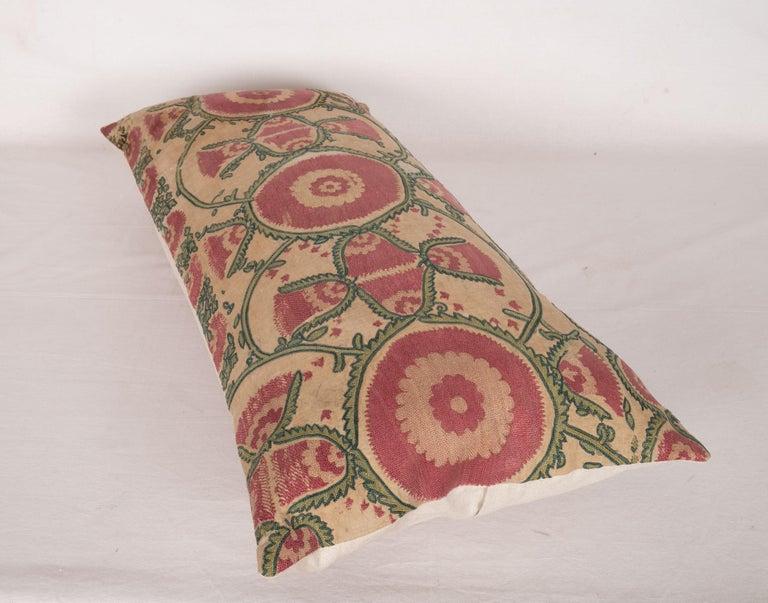 Silk Antique Suzani Pillow Case Fashioned from a Mid-19th Century, Ura Tube Suzani For Sale