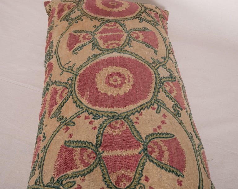 Antique Suzani Pillow Case Fashioned from a Mid-19th Century, Ura Tube Suzani For Sale 1