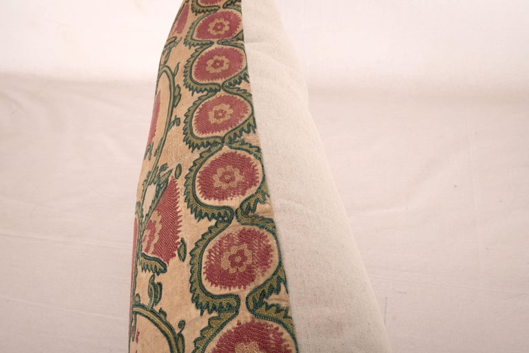 Antique Suzani Pillow Case Fashioned from a Mid-19th Century, Ura Tube Suzani For Sale 2
