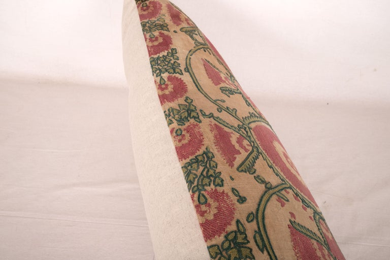 Antique Suzani Pillow Case Fashioned from a Mid-19th Century, Ura Tube Suzani For Sale 3
