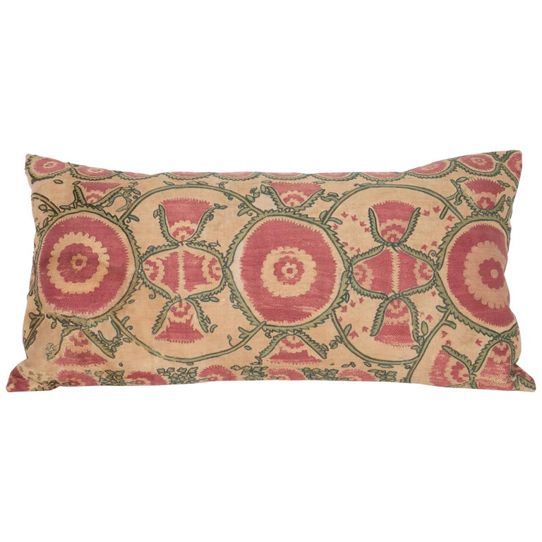 Antique Suzani Pillow Case Fashioned from a Mid-19th Century, Ura Tube Suzani For Sale