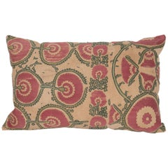 Antique Suzani Pillow Case Fashioned from a Mid-19th Century Ura Tube Suzani
