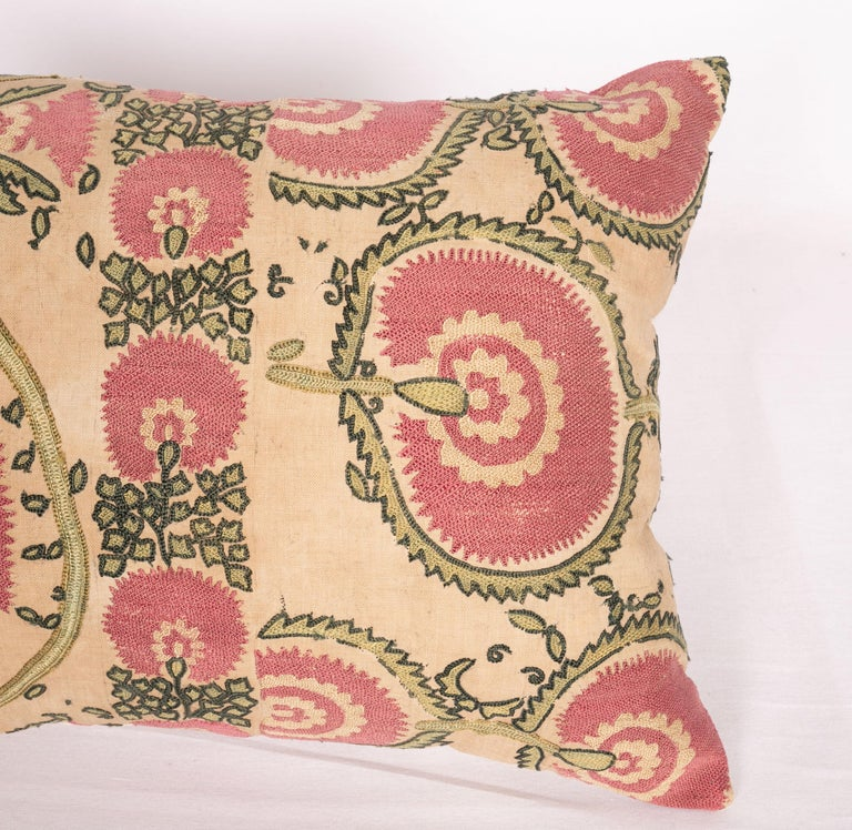 Tajikistani Antique Suzani Pillow Case Fashioned from a Mid-19th Century Tajik Suzani For Sale