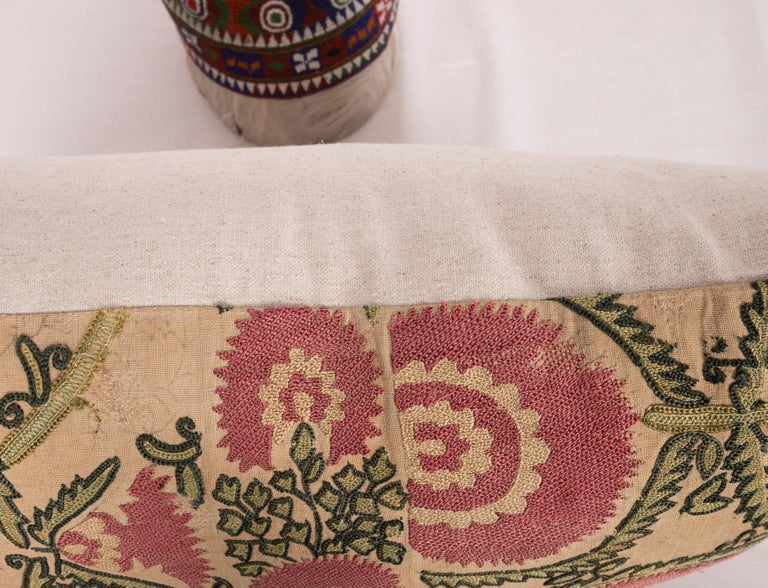 Silk Antique Suzani Pillow Case Fashioned from a Mid-19th Century Tajik Suzani For Sale