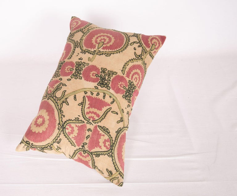 Antique Suzani Pillow Case Fashioned from a Mid-19th Century Tajik Suzani For Sale 1