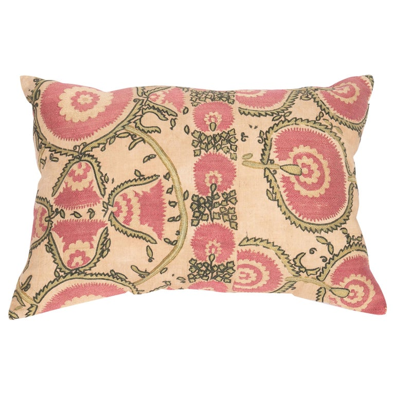 Antique Suzani Pillow Case Fashioned from a Mid-19th Century Tajik Suzani For Sale
