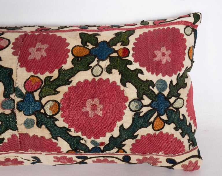Tajikistani Antique Suzani Pillow Case Made from a 19th C. Ura Tube Suzani from Tajikistan, For Sale