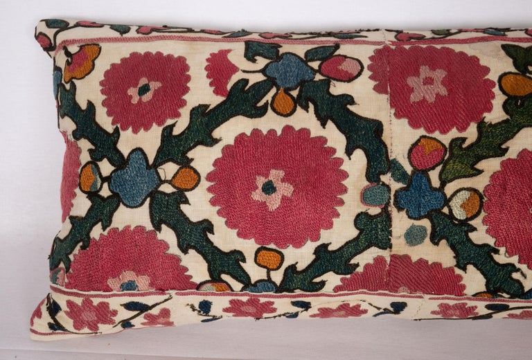 Embroidered Antique Suzani Pillow Case Made from a 19th C. Ura Tube Suzani from Tajikistan, For Sale