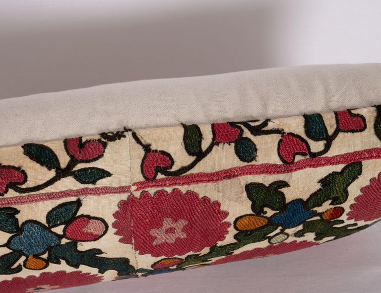 Antique Suzani Pillow Case Made from a 19th C. Ura Tube Suzani from Tajikistan, In Good Condition For Sale In Istanbul, TR