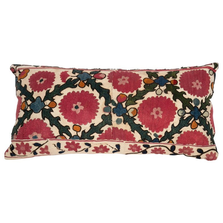 Antique Suzani Pillow Case Made from a 19th C. Ura Tube Suzani from Tajikistan, For Sale