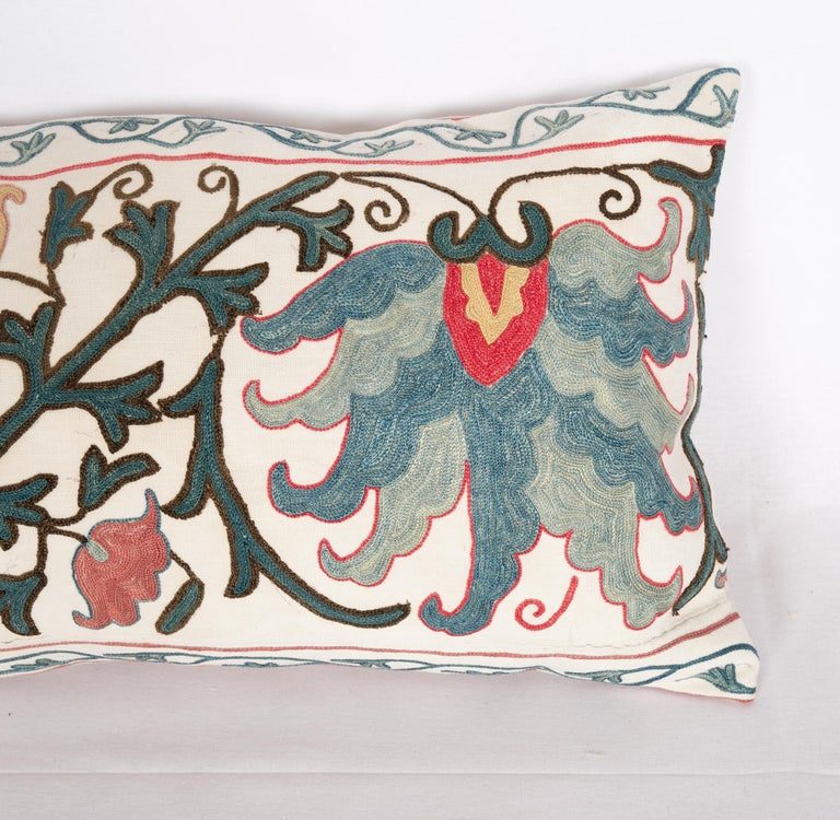Embroidered Antique Suzani Pillow Case Made from a 19th Century Suzani, Uzbekistan For Sale