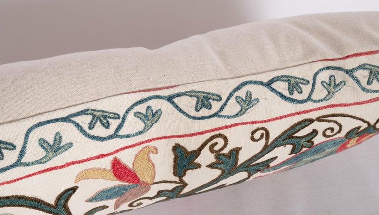 Silk Antique Suzani Pillow Case Made from a 19th Century Suzani, Uzbekistan For Sale