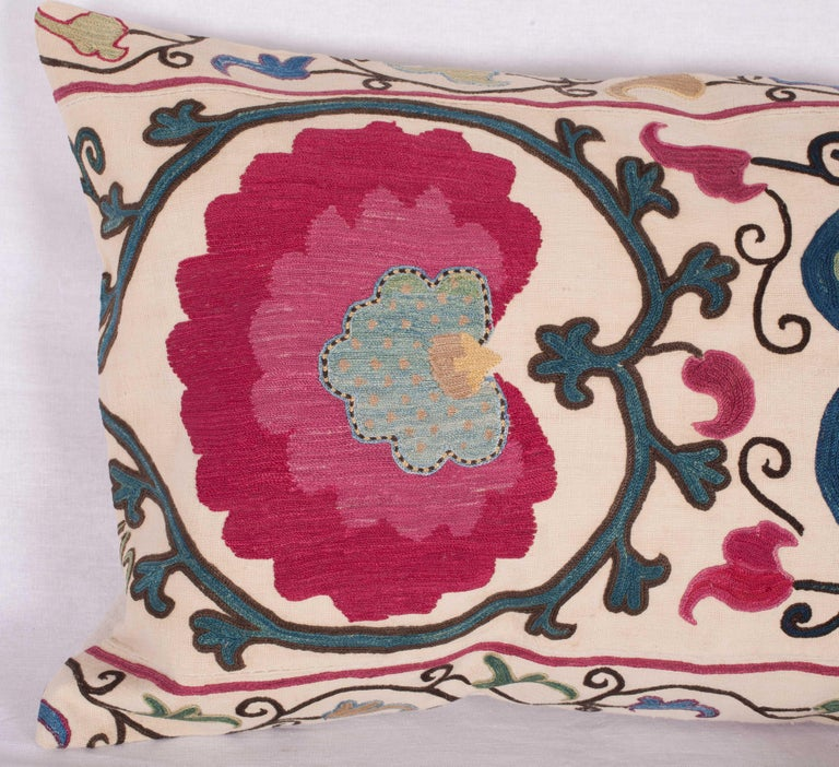 Embroidered Antique Suzani Pillow Case Made from a Suzani from Bukhara Uzbekistan For Sale