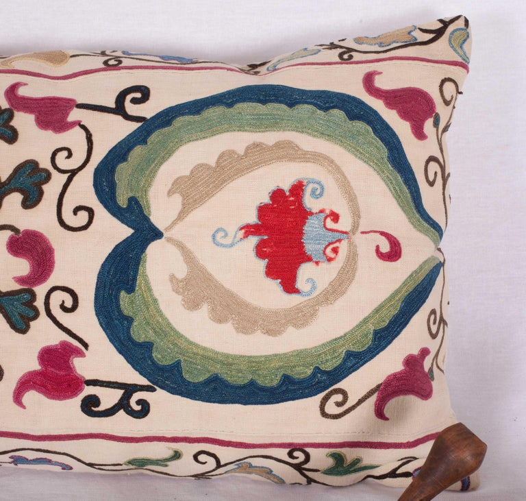 Antique Suzani Pillow Case Made from a Suzani from Bukhara Uzbekistan In Good Condition For Sale In Istanbul, TR