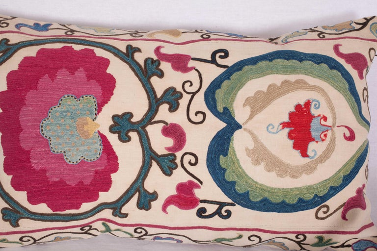 19th Century Antique Suzani Pillow Case Made from a Suzani from Bukhara Uzbekistan For Sale