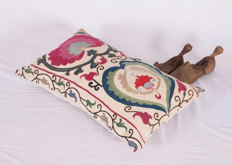Antique Suzani Pillow Case Made from a Suzani from Bukhara Uzbekistan For Sale 1