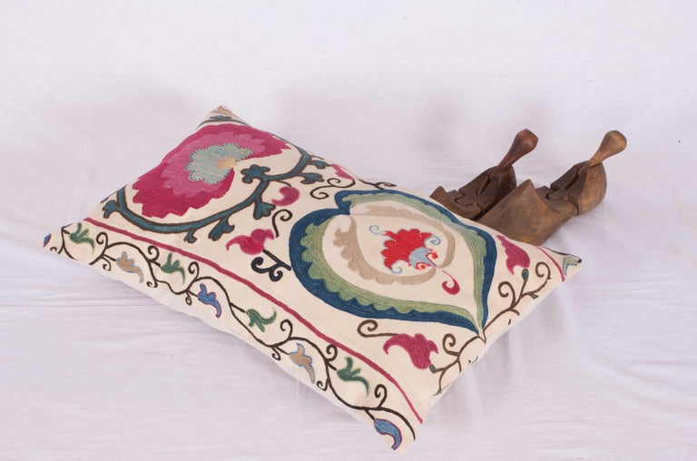 Antique Suzani Pillow Case Made from a Suzani from Bukhara Uzbekistan For Sale 2