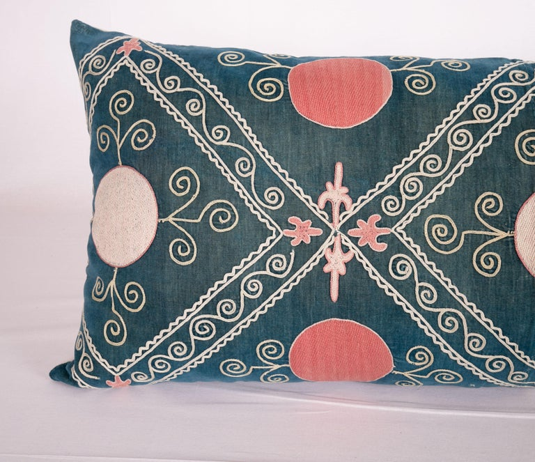 Uzbek Antique Suzani Pillow Case Made from an Early 20th Century Velvet Suzani For Sale