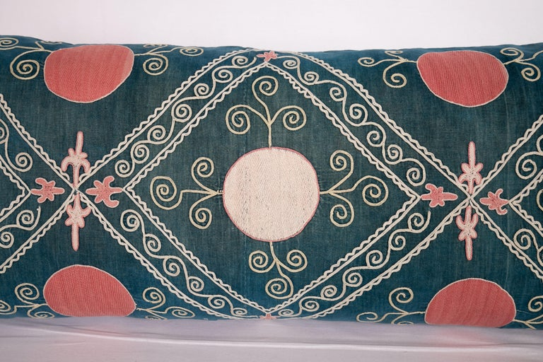 Embroidered Antique Suzani Pillow Case Made from an Early 20th Century Velvet Suzani For Sale