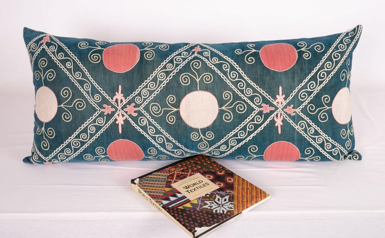 Silk Antique Suzani Pillow Case Made from an Early 20th Century Velvet Suzani For Sale