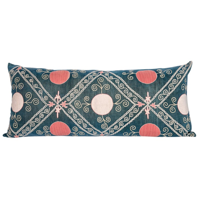 Antique Suzani Pillow Case Made from an Early 20th Century Velvet Suzani For Sale