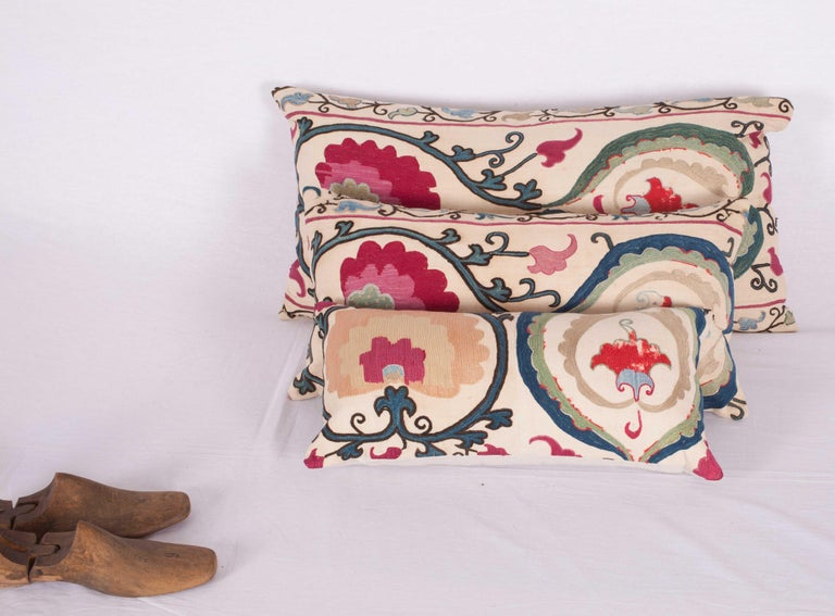 Embroidered Antique Suzani Pillow Cases Made from a Suzani from Bukhara Uzbekistan For Sale