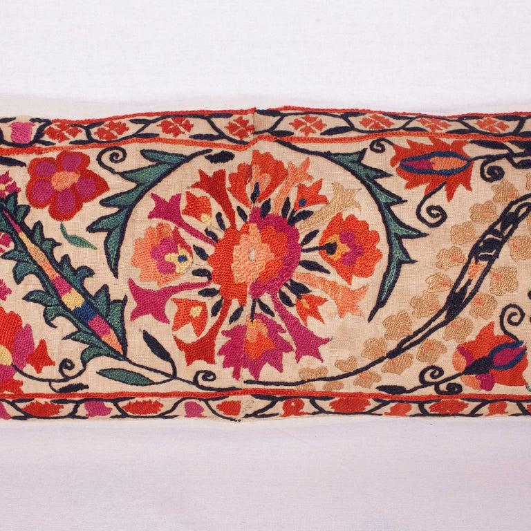 Uzbek Antique Suzani Pillow Fashioned from a 19th Century Nurata Suzani For Sale