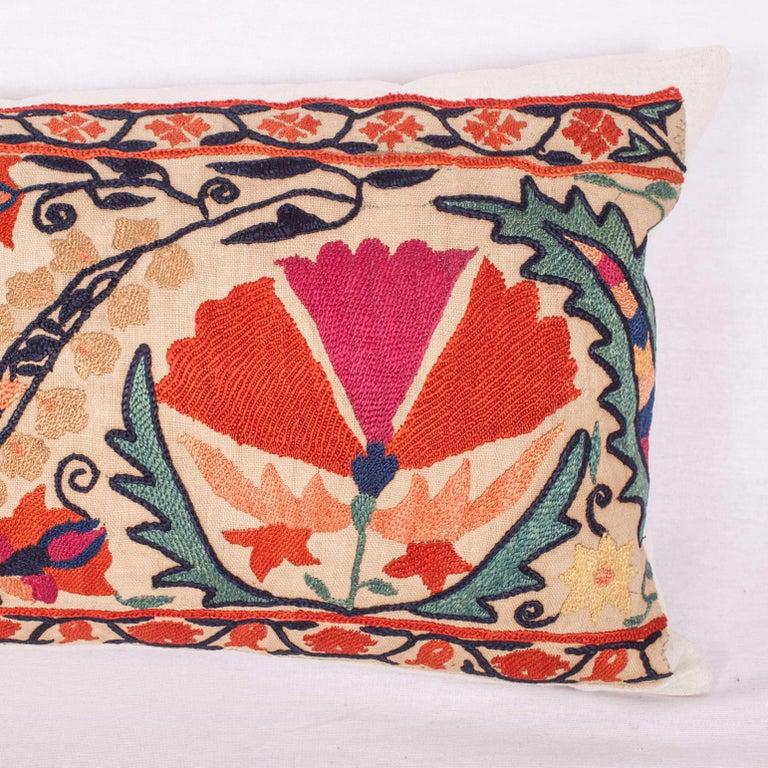 Embroidered Antique Suzani Pillow Fashioned from a 19th Century Nurata Suzani For Sale