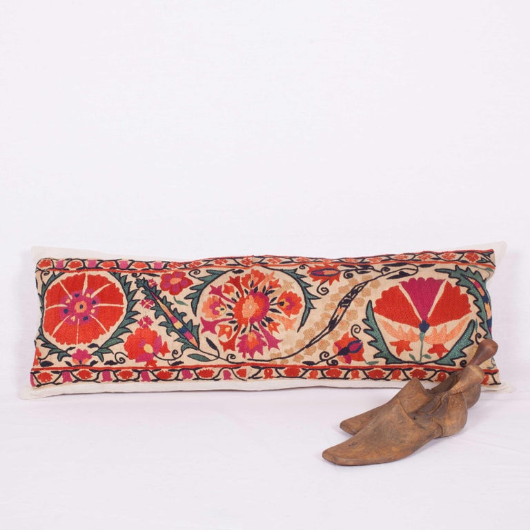 Antique Suzani Pillow Fashioned from a 19th Century Nurata Suzani In Good Condition For Sale In Istanbul, TR