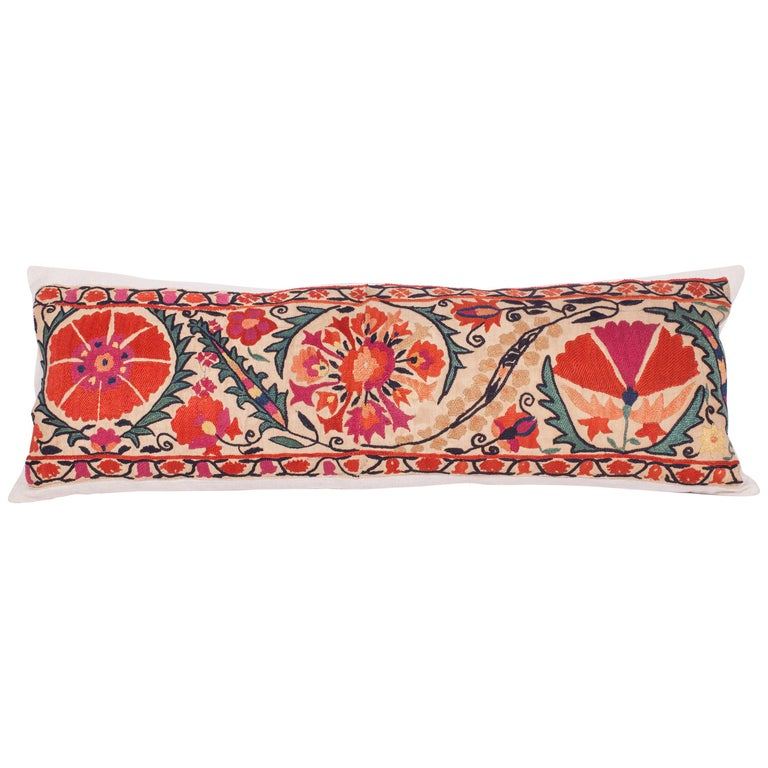 Antique Suzani Pillow Fashioned from a 19th Century Nurata Suzani For Sale