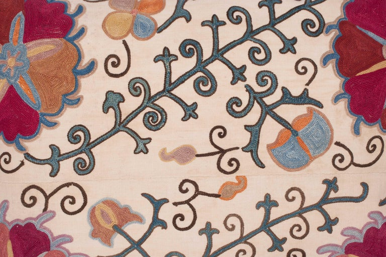 Embroidered Antique Suzani Pillow Fashioned from a 19th Century Uzbek Bukhara Suzani For Sale
