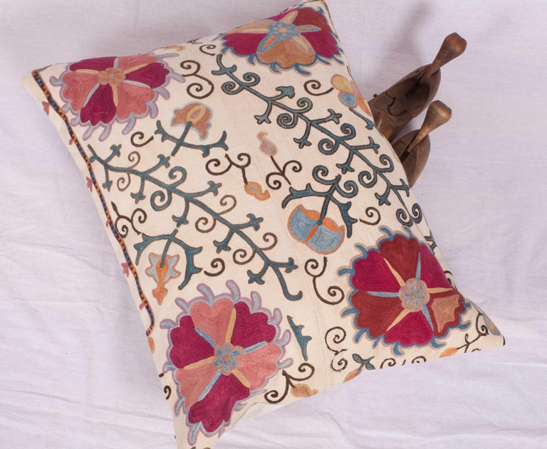 Antique Suzani Pillow Fashioned from a 19th Century Uzbek Bukhara Suzani For Sale 2