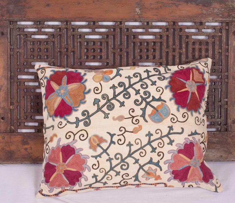 Antique Suzani Pillow Fashioned from a 19th Century Uzbek Bukhara Suzani For Sale 3