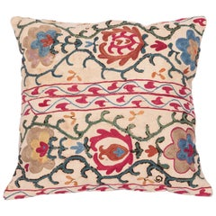 Antique Suzani Pillow Fashioned from a 19th Century Uzbek Suzani