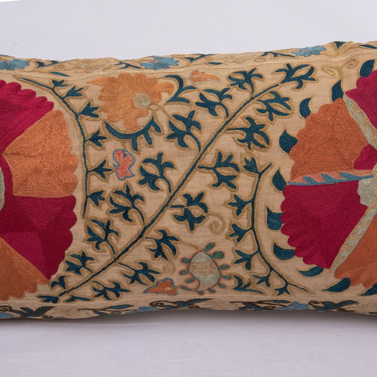 Uzbek Antique Suzani Pillowcase / Cushion Cover Made from a Mid 19th c Suzani For Sale