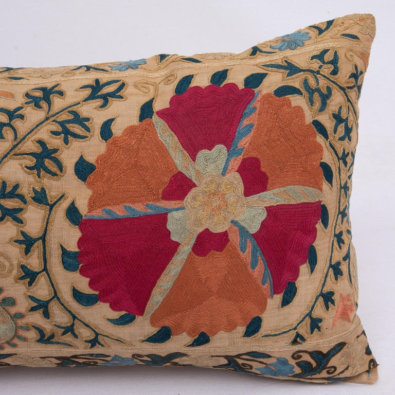 Embroidered Antique Suzani Pillowcase / Cushion Cover Made from a Mid 19th c Suzani For Sale
