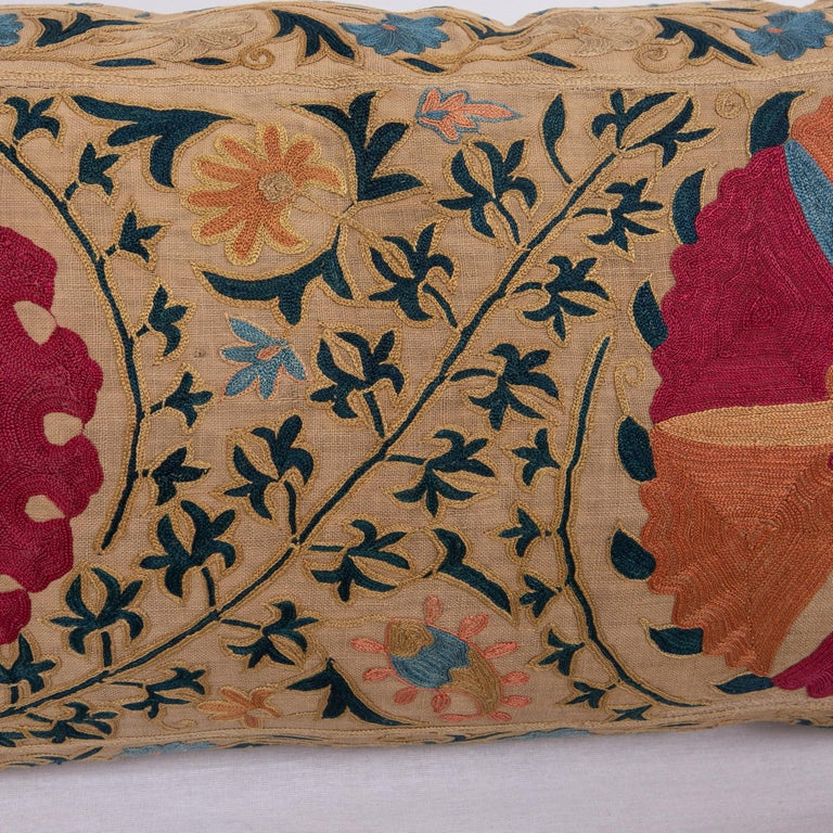 Antique Suzani Pillowcase / Cushion Cover Made from a Mid 19th c Suzani In Good Condition For Sale In Istanbul, TR