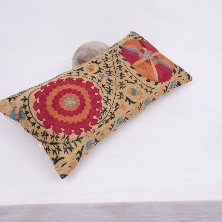 Silk Antique Suzani Pillowcase / Cushion Cover Made from a Mid 19th c Suzani For Sale