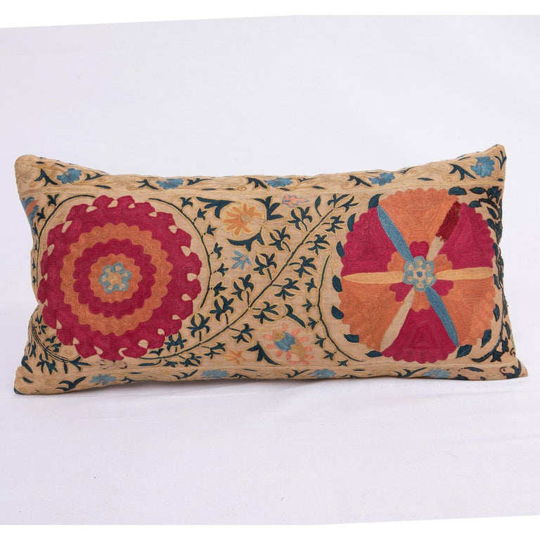 Antique Suzani Pillowcase / Cushion Cover Made from a Mid 19th c Suzani For Sale 1