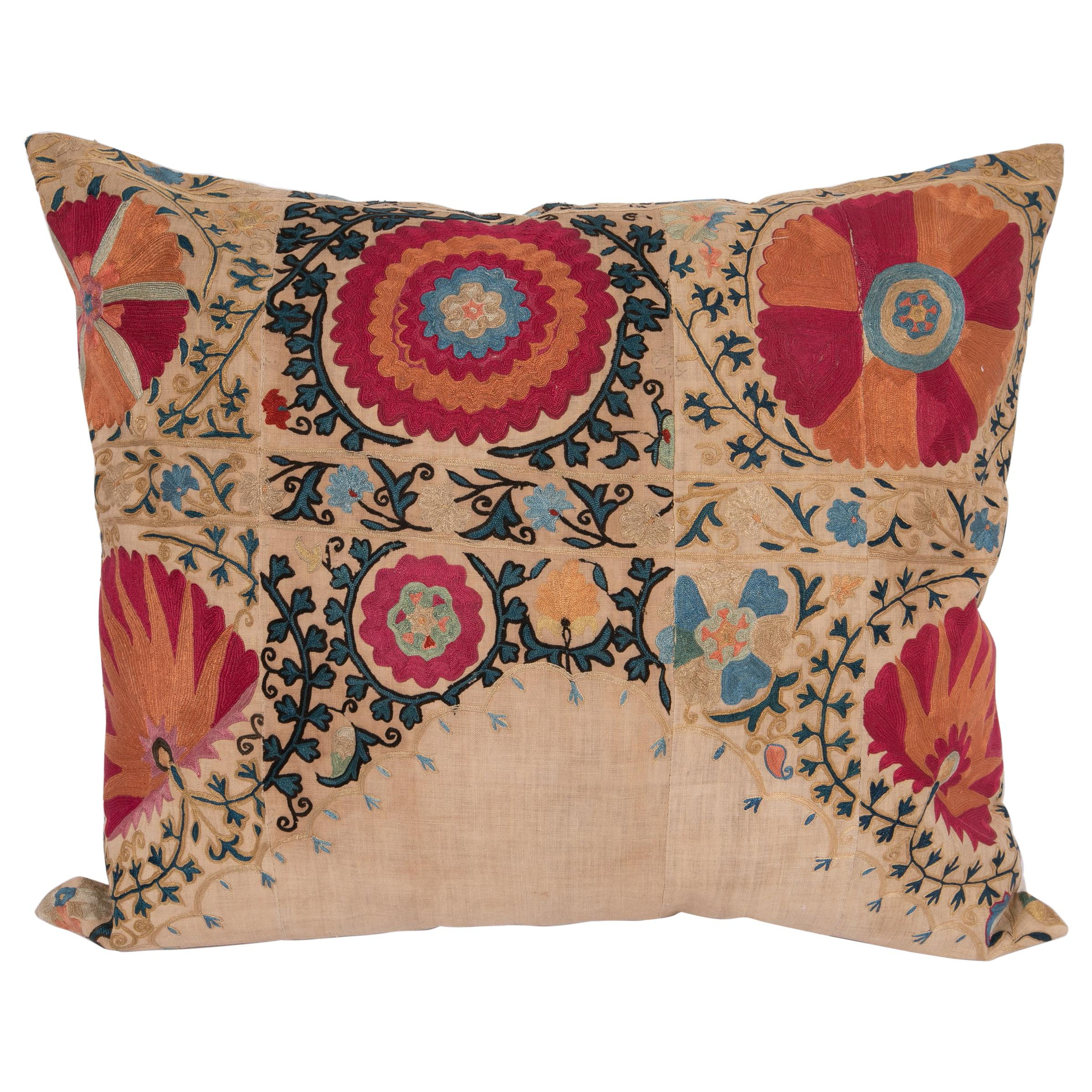 Antique Suzani Pillowcase / Cushion Cover Made from a Mid 19th C Suzani