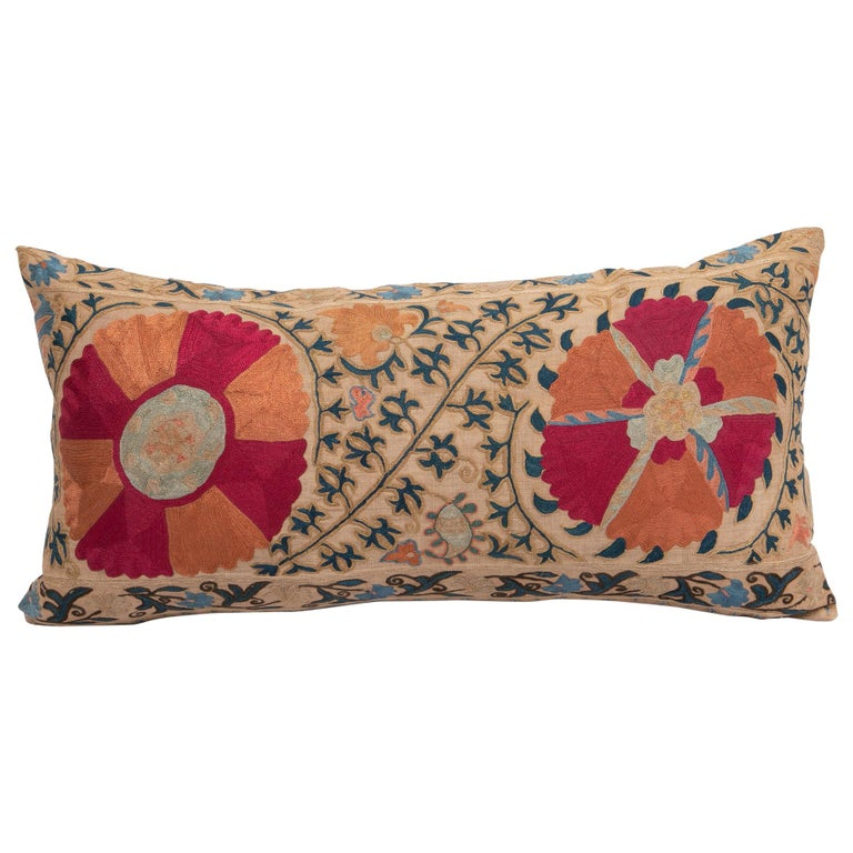Antique Suzani Pillowcase / Cushion Cover Made from a Mid 19th c Suzani For Sale