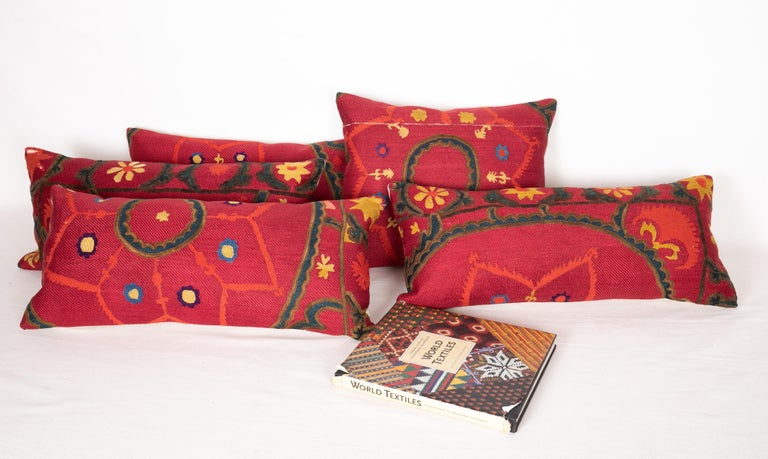 Antique Suzani Pillows Made from a 19th Century Tashkent Suzani For Sale 1