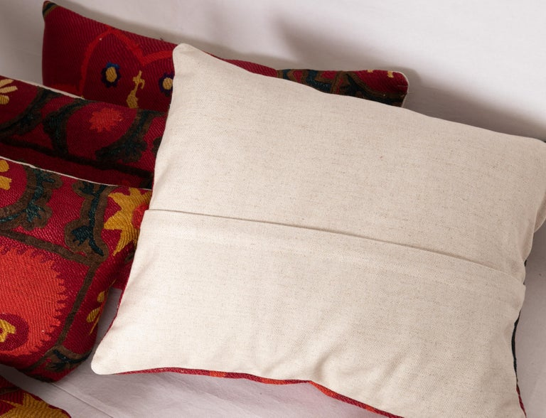 Antique Suzani Pillows Made from a 19th Century Tashkent Suzani For Sale 2
