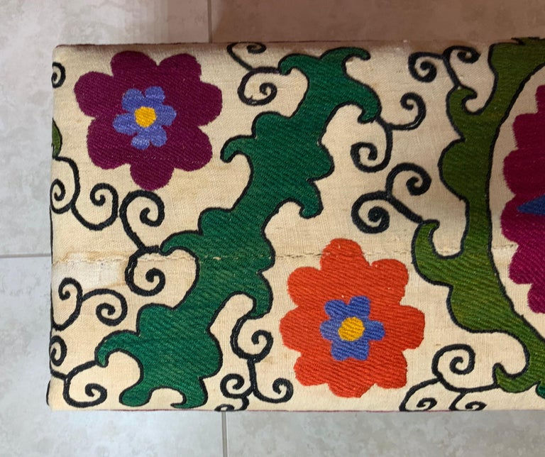 Cotton Antique Suzani Sitting Bench For Sale