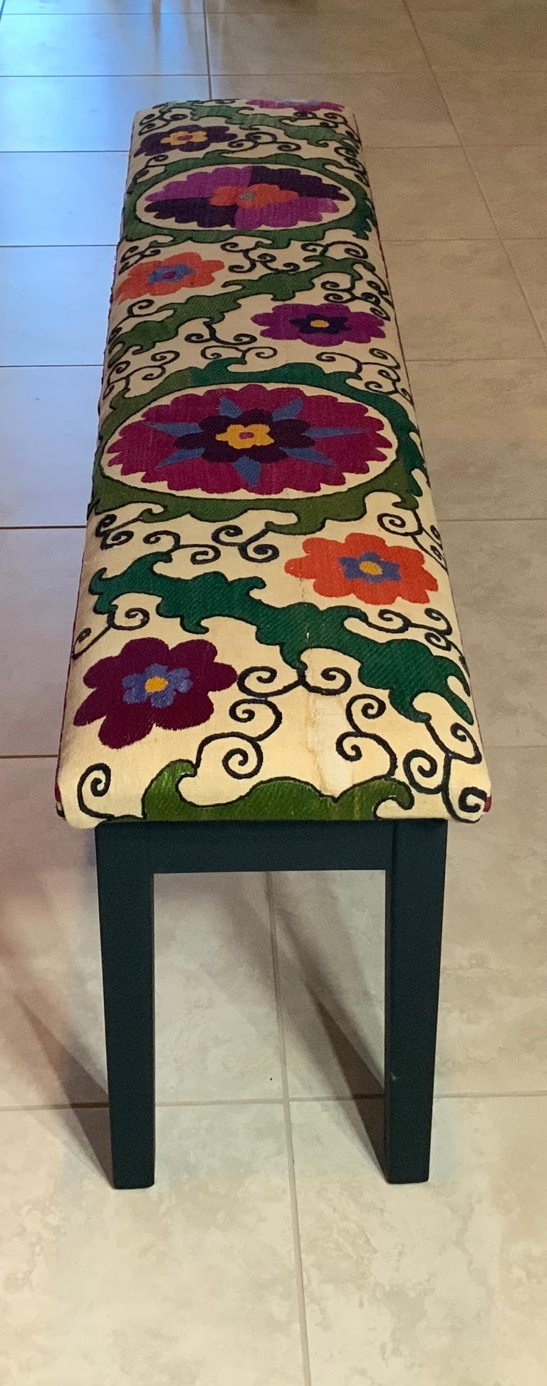 Antique Suzani Sitting Bench For Sale 2