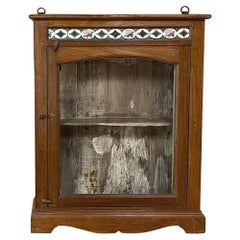 Antique Swedish Arts & Crafts Wall Cabinet with Hand-Painted Tiles