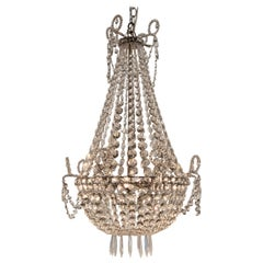 Antique Swedish Beaded Crystal Chandelier Basket Form