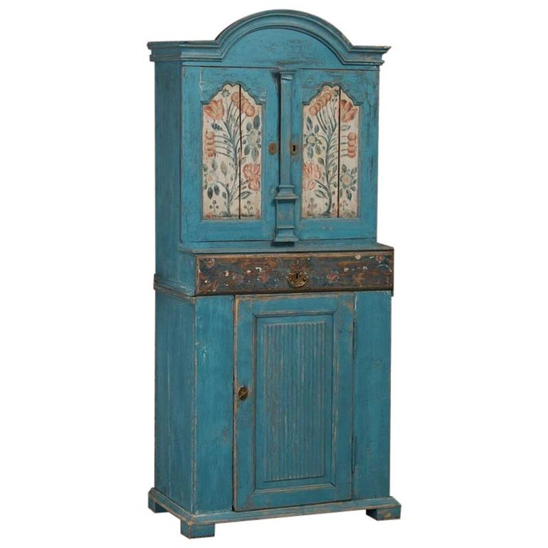 Antique Swedish Blue Cabinet/Cupboard with Original Paint For Sale