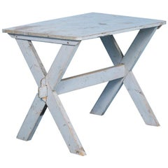Antique Swedish Blue Trestle Table, circa 1870