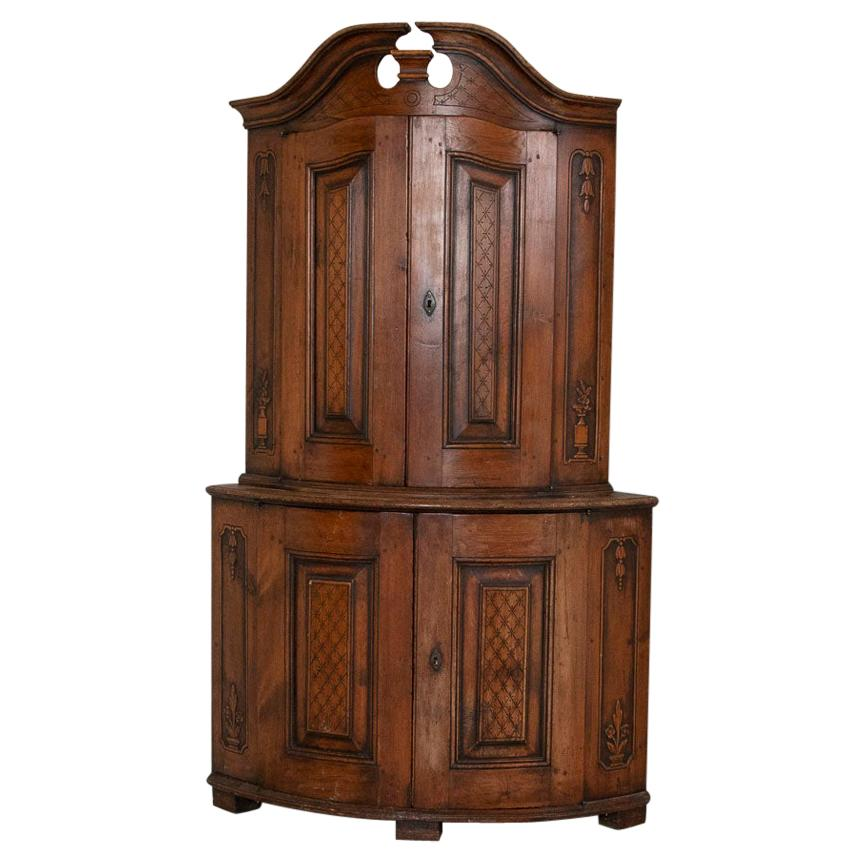 Antique Swedish Carved Pine Corner Cabinet Cupboard